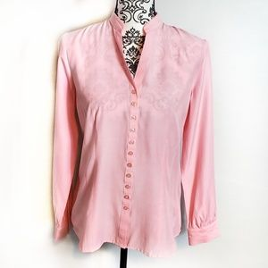 Dressbarn Pink, Long sleeve, Button Up Blouse S